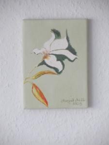 Acrylbild mit dem Titel Kleine Blüte handgemalt mit Acrylfarben auf Keilrahmen direkt von der Künstlerin das Original kaufen