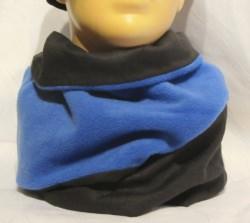 Handgefertigter Rundschal ♡ Schlauchschal ♡ Männerschal aus Fleece und Leinen in Blau und Schwarz kaufen  - Handarbeit kaufen