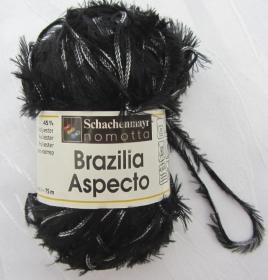 Fransenwolle Brazilia Aspecto  in schwarz-weiß-meliert zum Häkeln und Stricken Nadelstärke 4,5 - 5,5 mm (Grundpreis 100 g/4,60 €) kaufen