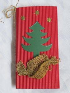 Klappkarte ☆ Faltkarte ☆ Weihnachtskarte handgemacht aus Wellpappe in Rot mit einem weißen Einlegeblatt und einem Umschlag kaufen