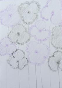 Grußkarte Faltkarte Klappkarte Blumenmotiv handgemalt mit Bleistift und Buntstift kaufen