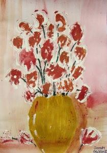 Acrylbild mit dem Titel Blumenstrauß mit Acrylfarben auf Papier direkt von der Künstlerin das Original kaufen