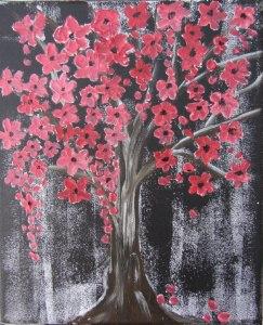 Acrylbild mit dem Titel Roter Blütenbaum handgemalt und gespachtelt auf Keilrahmen direkt von der Künstlerin das Original kaufen