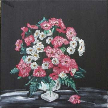 Acrylbild mit dem Titel Blumenbukett handgemalt mit Acrylfarben auf Keilrahmen direkt von der Künstlerin das Original kaufen