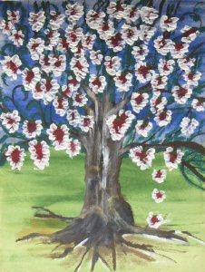 Acrylbild mit dem Titel Alter Baum mit jungen Blüten handgemalt mit Acrylfarben auf Pappe direkt von der Künstlerin das Original kaufen