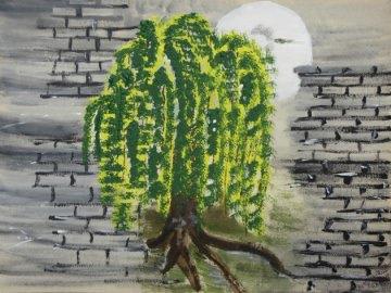Handgemaltes Acrylbild mit dem Titel MauerBaum gemalt mit Acrylfarben auf Karton direkt von der Künstlerin kaufen - Handarbeit kaufen