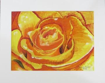 Acrylbild mit dem Titel Rosenblüte handgemalt mit Acrylfarben auf Aquarellpapier direkt von der Künstlerin das Original kaufen
