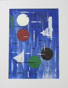 Acrylbild mit dem Titel Farbformen handgemalt mit Acrylfarben auf Aquarellpapier direkt von der Künstlerin das Original kaufen