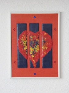 Acrylbild Collage mit dem Titel Gefangenes Herz handgemalt und gestaltet auf einer Hartfaserplatte direkt von der Künstlerin das Original kaufen