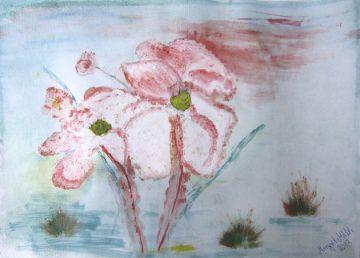 Acrylbild mit dem Titel Blüten handgemalt mit Acrylfarben auf Acrylpapier direkt von der Künstlerin