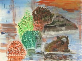 Aquarellbild mit dem Titel Flusspferd handgemalt mit Aquarellfarben auf Aquarellpapier direkt von der Künstlerin das Original kaufen