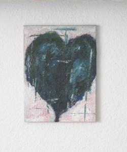 Acrylbild mit dem Titel Herz in Türkis handgemalt mit Acrylfarben auf Keilrahmen direkt von der Künstlerin das Original kaufen