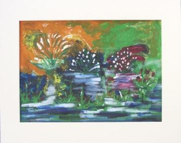 Acrylbild mit dem Titel Sumpfgebiet handgemalt mit Acrylfarben auf Aquarellpapier direkt von der Künstlerin das Original kaufen