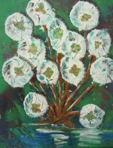 Acrylbild mit dem Titel Schneeballblüten handgemalt mit Acrylfarben auf Pappe direkt von der Künstlerin das Original kaufen