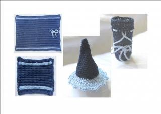 Platzset ☀ vierteilig handgehäkelt aus Baumwolle in Dunkelblau mit Details in Hellblau kaufen