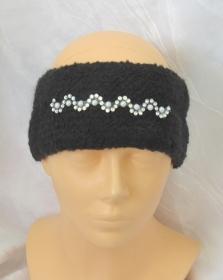 Handgestricktes und gefilztes Stirnband aus schwarzer Wolle mit einer Glitzerbordüre kaufen