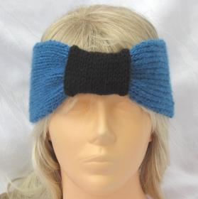 Stirnband ♥ Ohrenwärmer handgestrickt aus Wolle in Petrol und Schwarz mit einer Schlaufe im Stirnbereich kaufen