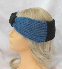 Handgestricktes Stirnband Damen ♥ Ohrenwärmer aus Wolle in Petrol und Schwarz mit einer Schlaufe im Stirnbereich kaufen - Handarbeit kaufen