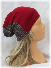 Handgefertigte Mütze ✂ Chemomütze Damen genäht aus Viskosejersey in rot und buntgestreift kaufen - Handarbeit kaufen