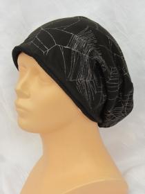 Handgefertigte Mütze ♡ Wendemütze ♡ Herren Damen mit Spinnennetzdruck genäht aus Baumwolljersey in schwarz mit Glitzereffekt kaufen
