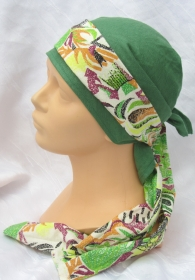 Handgefertigtes zweiteiliges Kopftuch Damen in Grün ✂ mit buntem Band aus Leinen- und Baumwollstoff zugeschnitten und genäht kaufen - Handarbeit kaufen