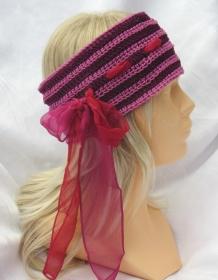 Handgehäkeltes zweifarbiges Stirnband aus Baumwolle mit einem farblich harmonierendem Band durchzogen in voluminösem Häkelmuster kaufen