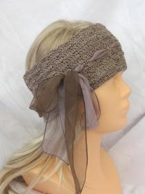 Handgehäkeltes Stirnband aus Baumwolle in Taupe mit Band im extravagentem Muster kaufen - Handarbeit kaufen