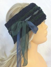Handgehäkeltes Stirnband ☆ aus Baumwollmischgarn in Blau und Grün mit Band im extravagenten Muster kaufen