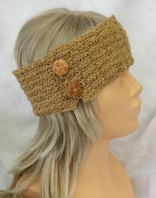 Handgehäkeltes Stirnband ☆ aus Baumwolle in Honigfarben mit Knöpfen in extravagantem Muster kaufen - Handarbeit kaufen