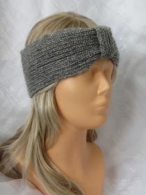 Handgestricktes Stirnband Damen gestrickt aus grau-silber-melierter Wolle kaufen - Handarbeit kaufen