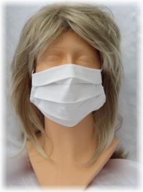 Behelfs Mund Nasen Maske Gesichtsmaske zweilagig aus weißem Leinenstoff mit Gummiband kaufen