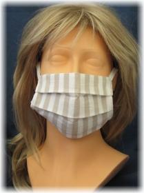 Behelfs Mund Nasen Maske Gesichtsmaske zweilagig aus weiß und beigen Baumwollstoff mit Gummiband kaufen