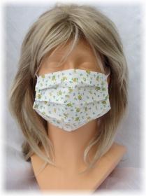 Behelfs Mund Nasen Maske Gesichtsmaske zweilagig aus Baumwollstoff mit Streublümchenmuster und Gummiband kaufen