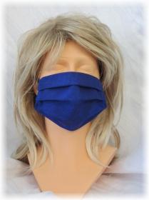 Behelfs Mund Nasen Maske Gesichtsmaske zweilagig aus Baumwollstoff in Blau und Gummiband kaufen