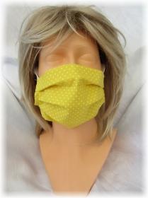 Behelfs Mund Nasen Maske Gesichtsmaske zweilagig aus Baumwollstoff in Gelb und Gummiband kaufen
