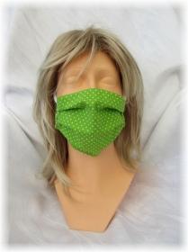 Behelfs Mund Nasen Maske Gesichtsmaske zweilagig aus Baumwollstoff in Grün und Gummiband kaufen