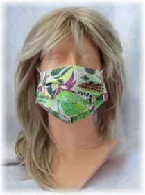 Behelfs Mund Nasen Maske Gesichtsmaske zweilagig aus Baumwollstoff in Grün Bunt mit Gummiband kaufen