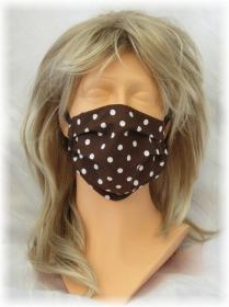 Behelfs Mund Nasen Maske Gesichtsmaske zweilagig aus Baumwollstoff in Braun mit weißen Punkten mit Gummiband kaufen
