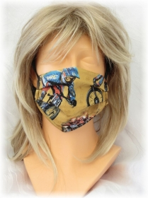 Behelfs Mund Nasen Maske Gesichtsmaske zweilagig aus Baumwollstoff in Ocker und Blau mit Bike Crossing Motiven mit Gummiband kaufen