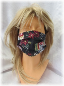 Behelfs Mund Nasen Maske Gesichtsmaske zweilagig aus Baumwollstoff in Schwarz Bunt mit Gummiband kaufen