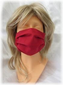 Behelfs Mund Nasen Maske Gesichtsmaske zweilagig aus Baumwollstoff in Rot mit Gummiband kaufen