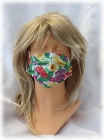Behelfs Mund Nasen Maske Gesichtsmaske zweilagig aus Baumwollstoff mit buntem Blumenmuster und Gummiband kaufen