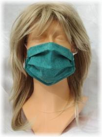 Behelfs Mund Nasen Maske Gesichtsmaske zweilagig aus Baumwollstoff in Grün mit Gummiband kaufen