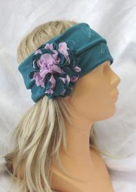 Handgefertigtes Stirnband Haarband Damen genäht aus Strukturjersey in Türkis mit einer Stoffbrosche kaufen - Handarbeit kaufen