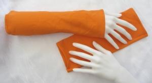 Handgefertigte Stulpen Armstulpen ♥ genäht aus elastischem Jerseystoff in Orange  kaufen - Handarbeit kaufen