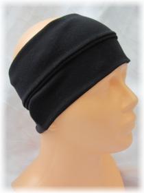Handgefertigtes Stirnband ♥ zugeschnitten und genäht aus elastischem Jerseystoff in Schwarz kaufen