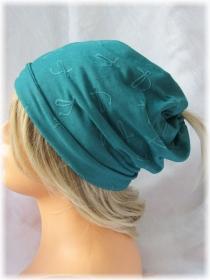 Handgefertigte Mütze ♡ Wendemütze ♡ Damen mit Öffnung für Pferdeschwanz aus Polyester mit Elasthan in Türkis kaufen - Handarbeit kaufen