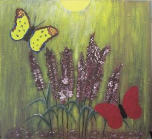 Handgemaltes Acrylbild mit dem Titel Schmetterlingsflieder gemalt mit Acrylfarben auf Holz direkt von der Künstlerin kaufen - Handarbeit kaufen