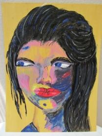 Handgemaltes Acrylbild mit dem Titel Roxana gemalt mit Acrylfarben auf Pappe direkt von der Künstlerin kaufen - Handarbeit kaufen