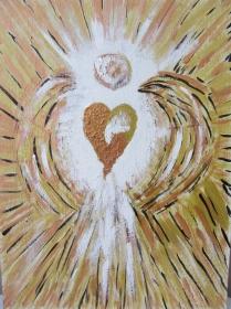 Handgemaltes Acrylbild mit dem Titel Herz Engel Goldgelbfarbig gemalt mit Acrylfarben auf Pappe direkt von der Künstlerin kaufen - Handarbeit kaufen